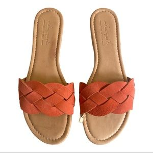 Mila Paola Orange Suede Braided Leather Sandals